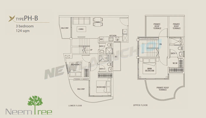 Neem Tree Floor Plan 3-Bedroom Penthouse 1335