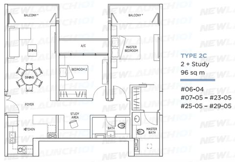 Kallang Riverside Floor Plan 2-Bedroom Study