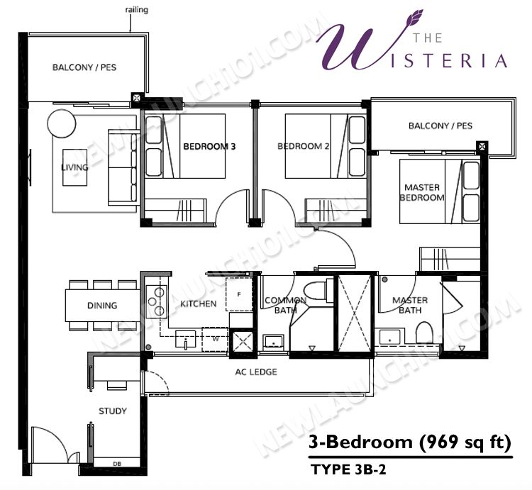 The Wisteria Floor Plan 3-Bedroom 969