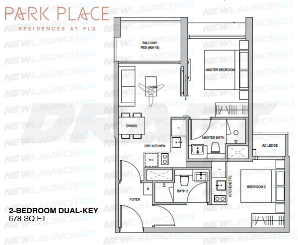 PARK PLACE RESIDENCES FLOOR PLAN 2-BEDROOM DUAL KEY 678