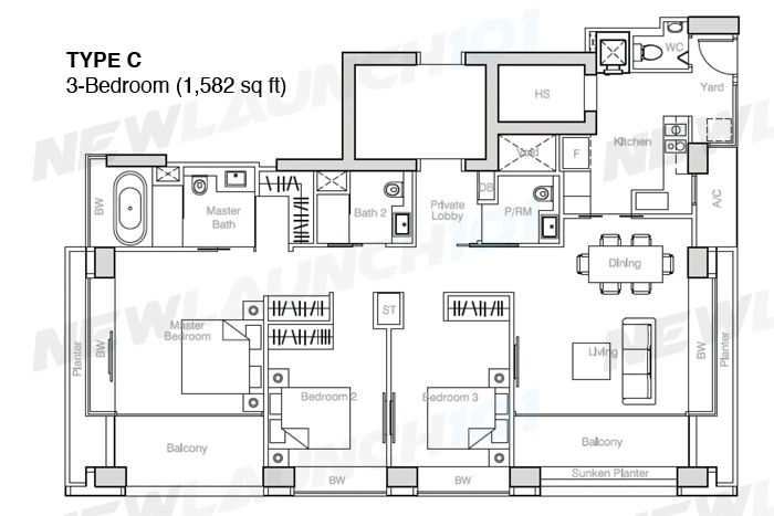Nouvel 18 Floor Plan 3-Bedroom 1582