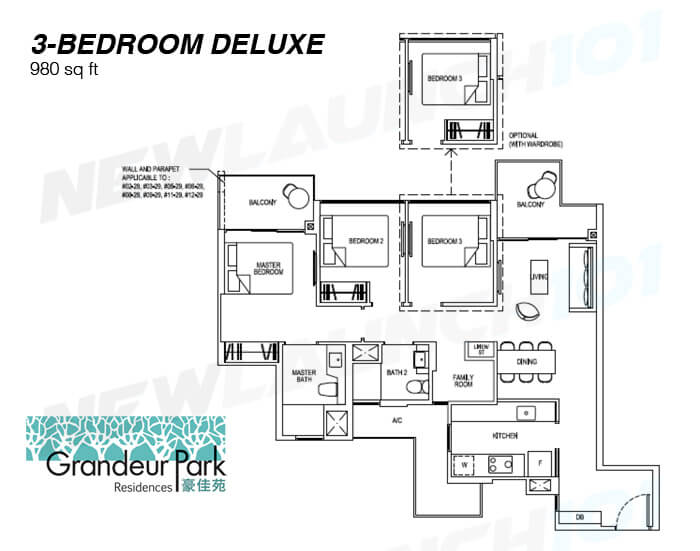 Grandeur Park Residences Floor Plan 3-Bedroom Deluxe 980