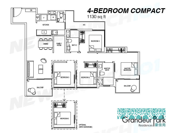 Grandeur Park Residences Floor Plan 4-Bedroom Compact 1130