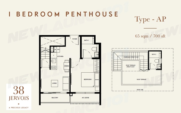 38 Jervois Floor Plan 1-Bedroom Penthouse 700
