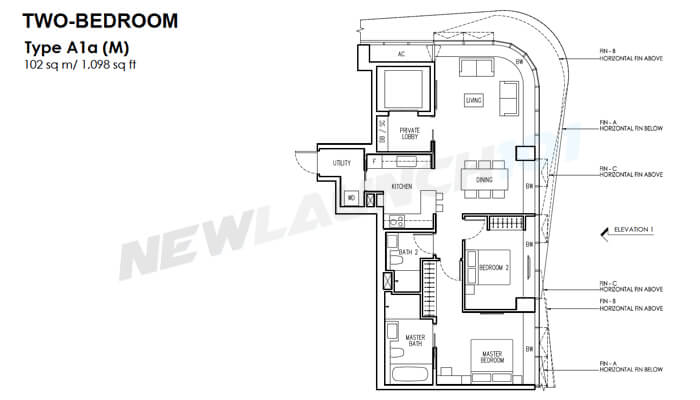 New Futura Floor Plan 2-Bedroom 1098