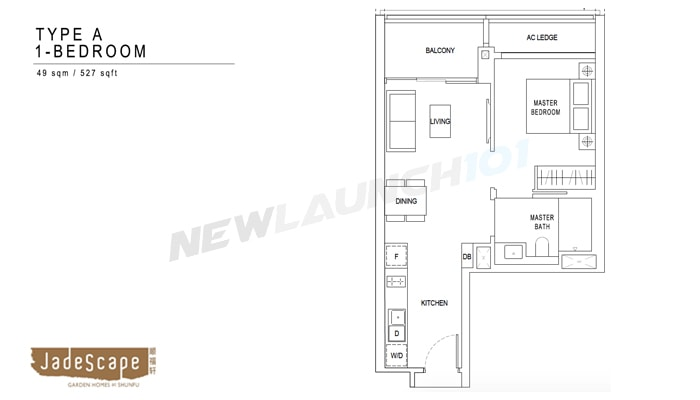 JadeScape Floor Plan 1-Bedroom 527