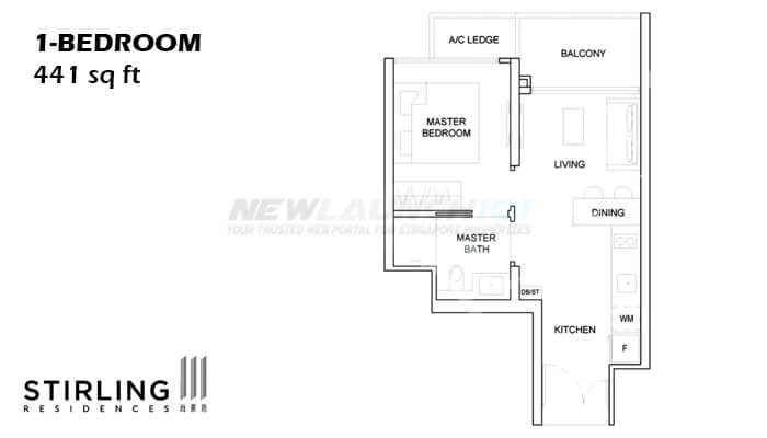 Stirling Residences Floor Plan 1-Bedroom 441