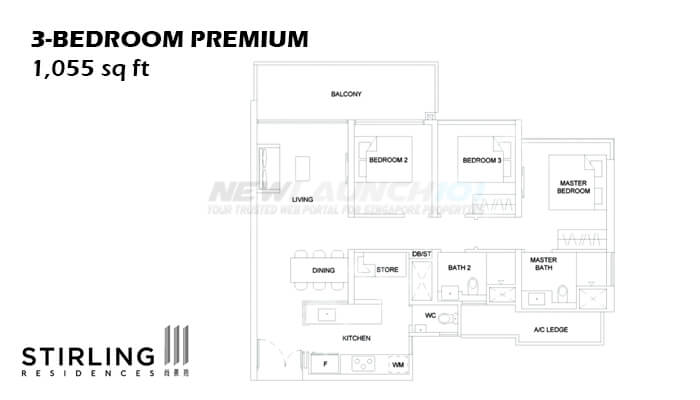 Stirling Residences Floor Plan 3-Bedroom Premium 1055