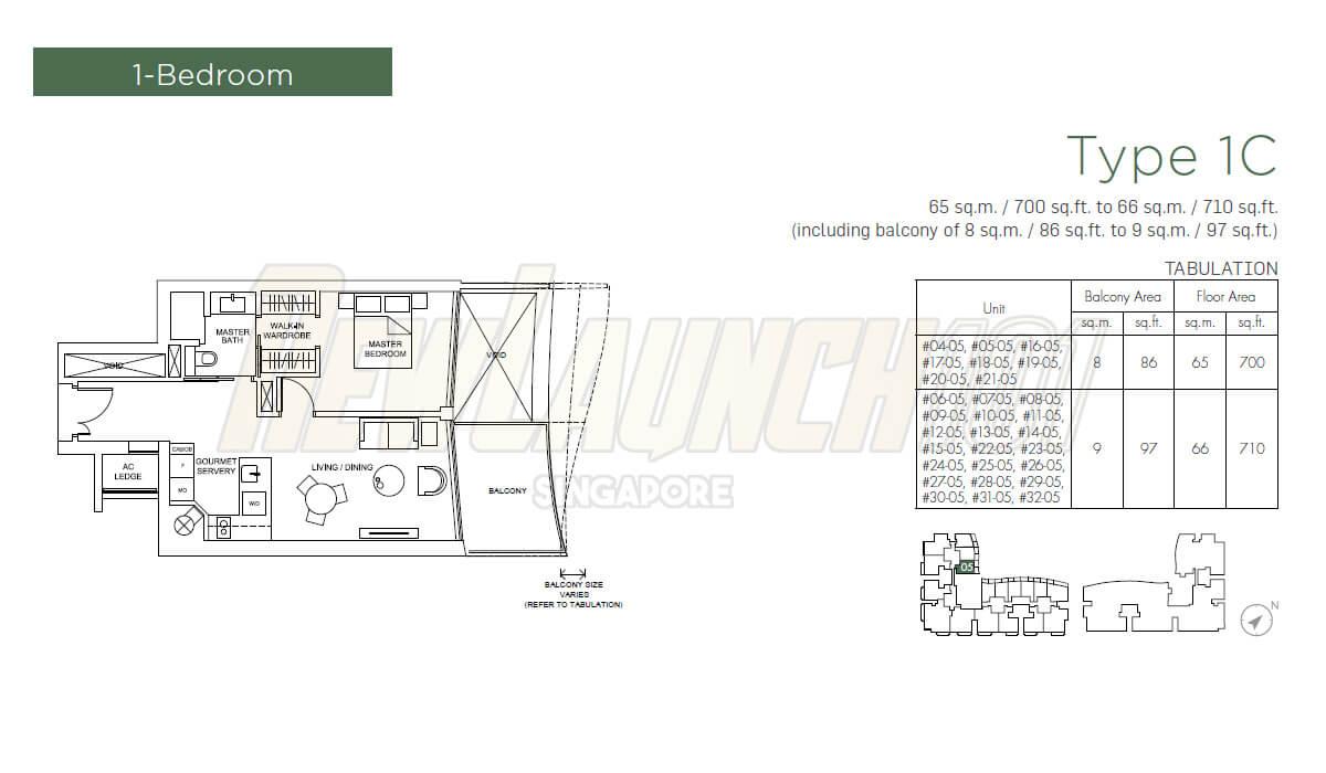 Marina One Residences Floor Plan 1-Bedroom Type 1C