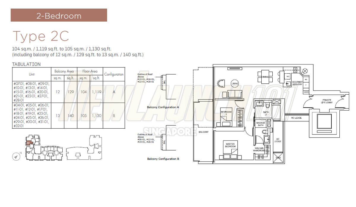 Marina One Residences Floor Plan 2-Bedroom Type 2C