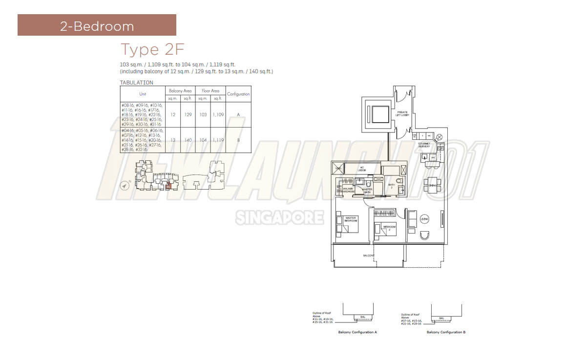 Marina One Residences Floor Plan 2-Bedroom Type 2F