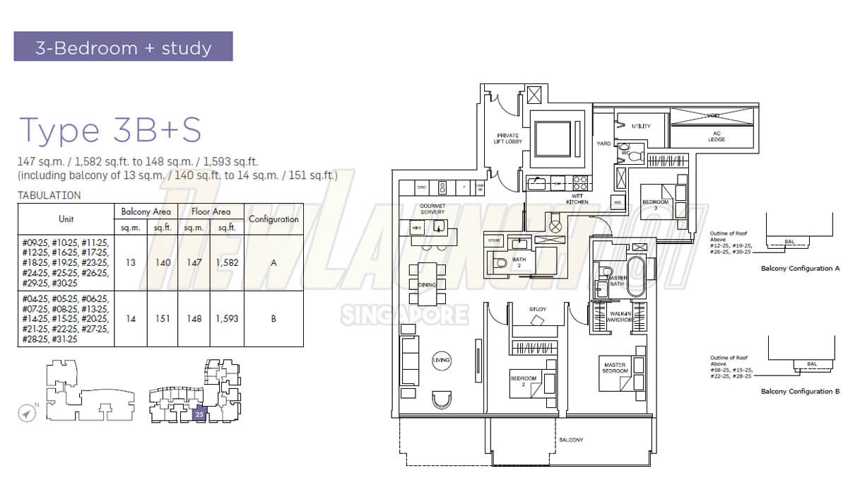 Marina One Residences Floor Plan 3-Bedroom Study Type 3BS