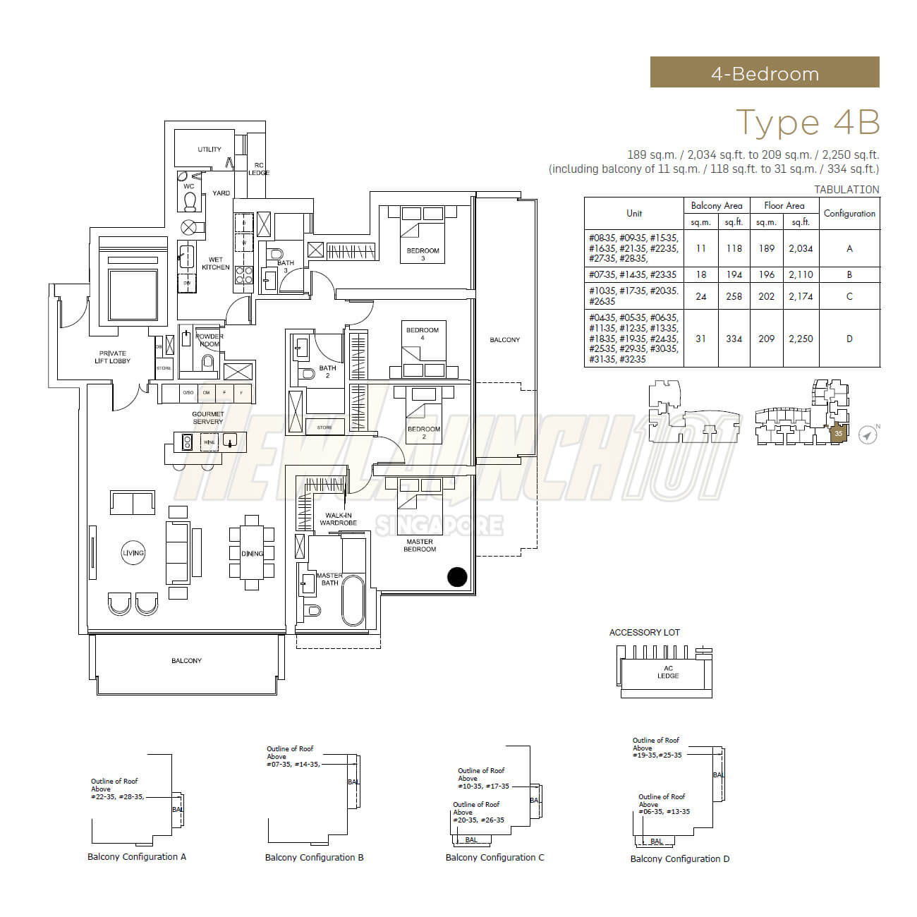 Marina One Residences Floor Plan 4-Bedroom Type 4B