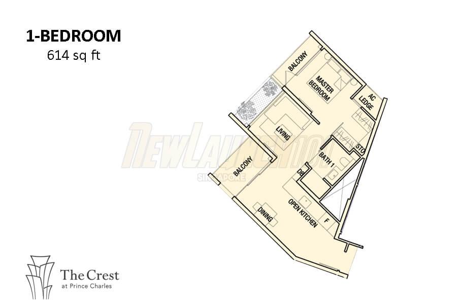 The Crest Floor Plan 1-Bedroom 614