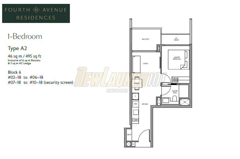 Fourth Avenue Residences Floor Plan 1-Bedroom Type A2