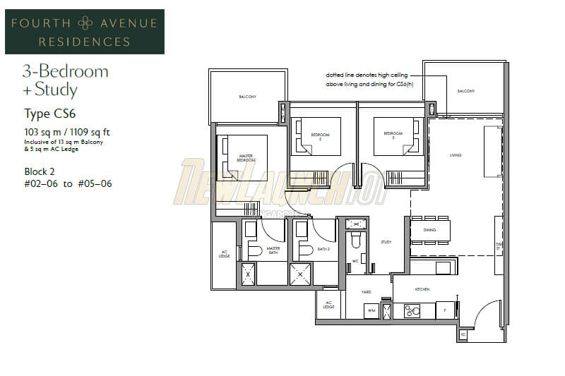 Fourth Avenue Residences Floor Plan 3-Bedroom Study Type CS6