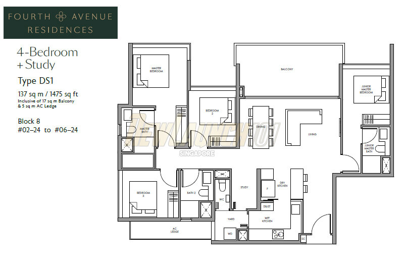 Fourth Avenue Residences Floor Plan 4-Bedroom Study Type DS1