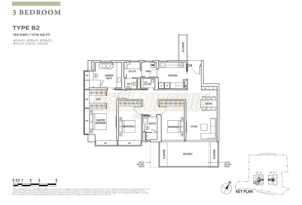 Boulevard 88 Floor Plan 3-Bedroom Type B2