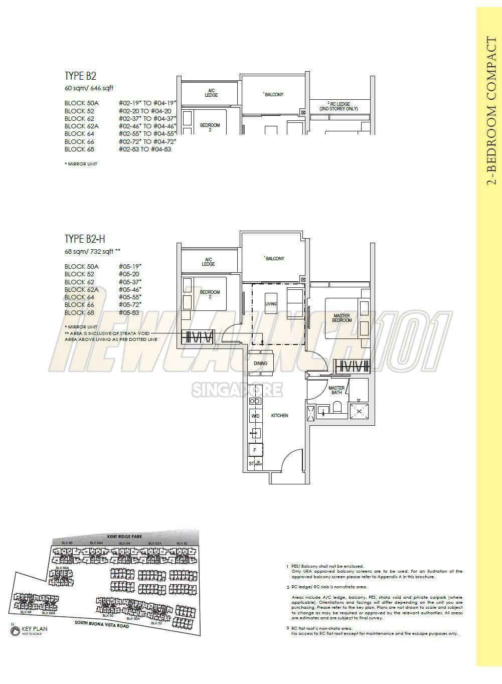 Kent Ridge Hill Residences Floor Plan 2-Bedroom Type B2