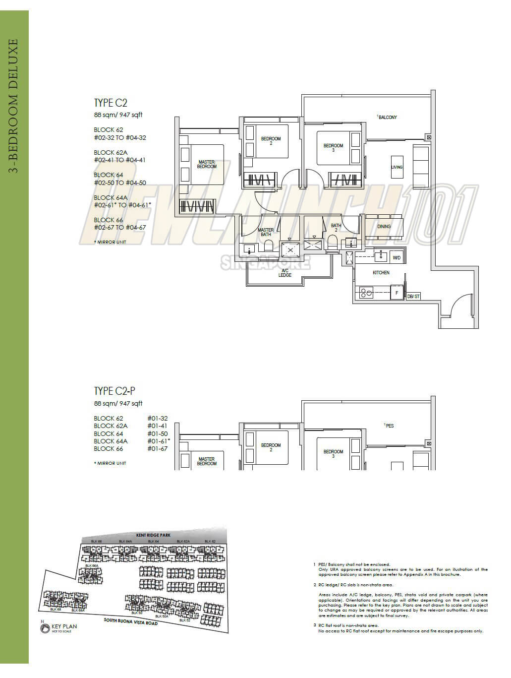 Kent Ridge Hill Residences Floor Plan 3-Bedroom Type C2