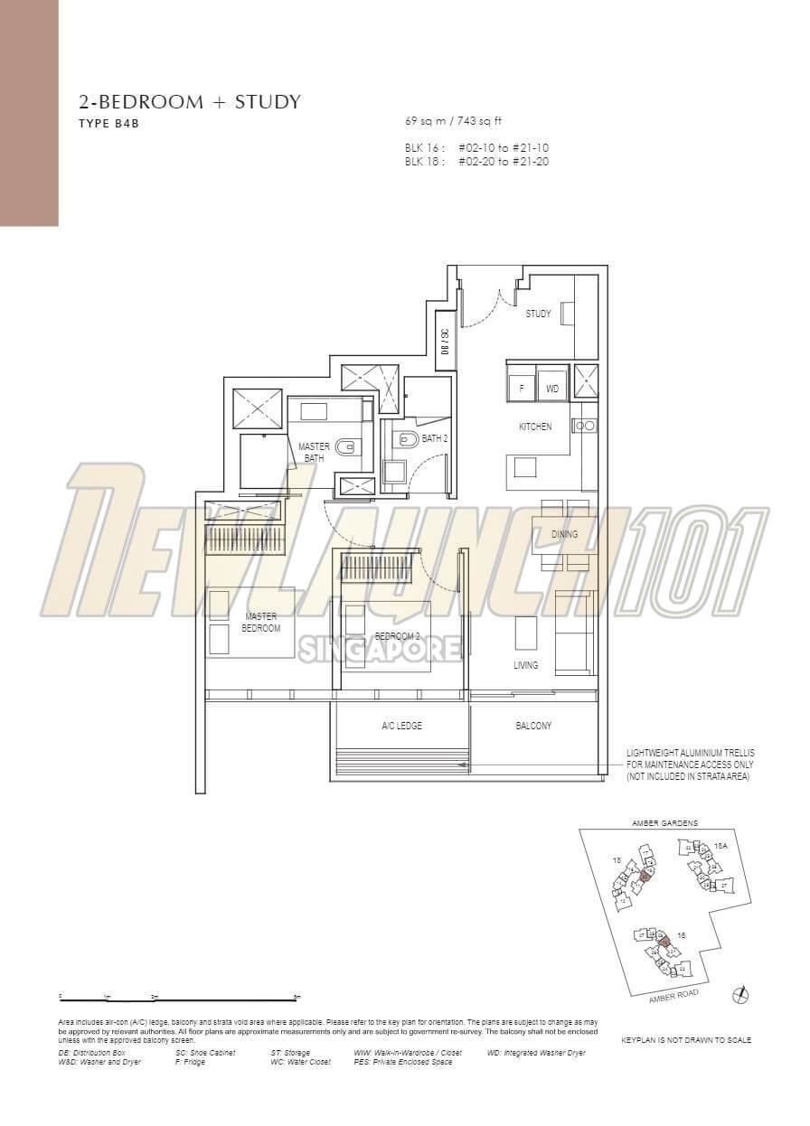 Amber Park Floor Plan 2-Bedroom Study Type B4B