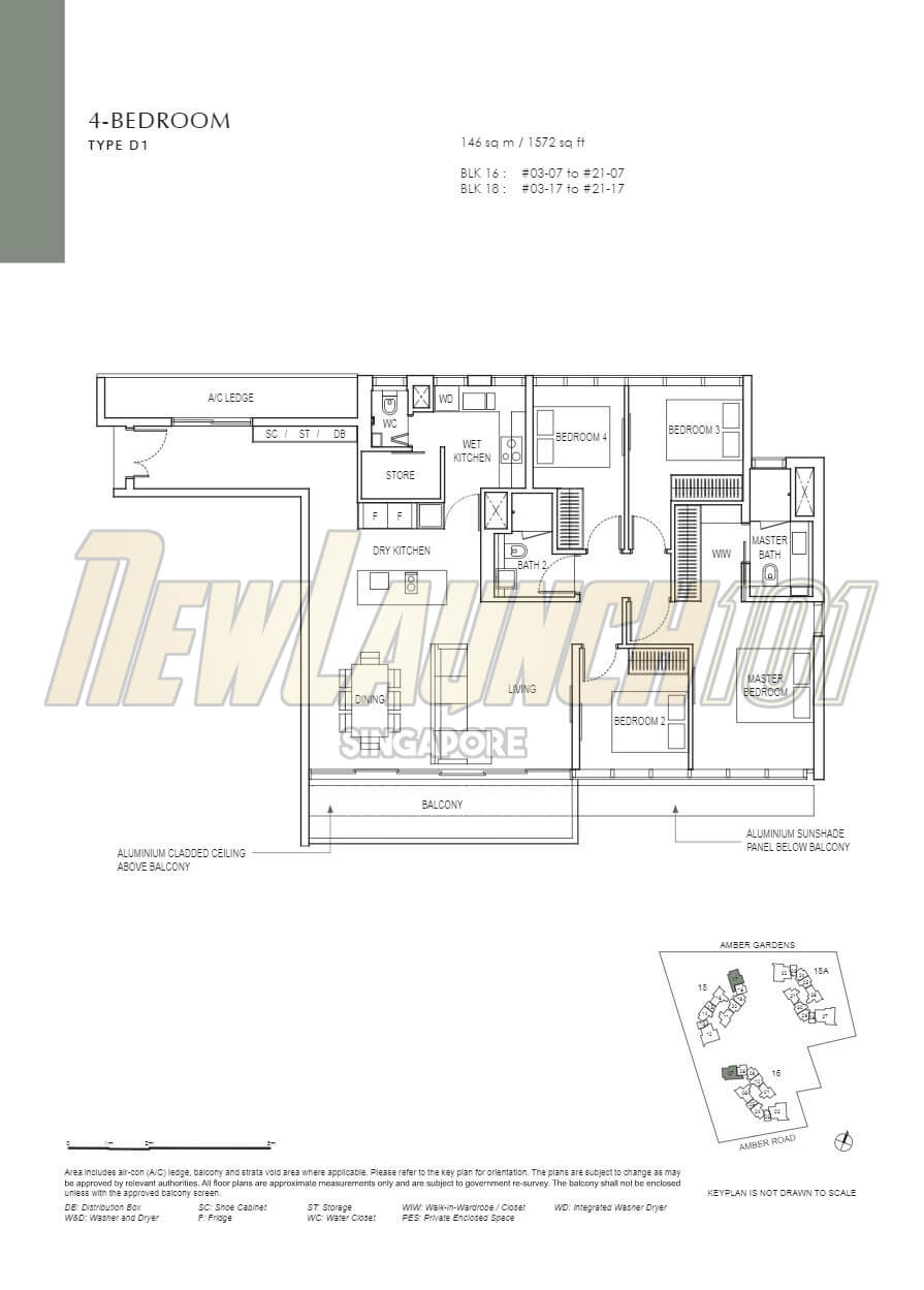 Amber Park Floor Plan 4-Bedroom Type D1