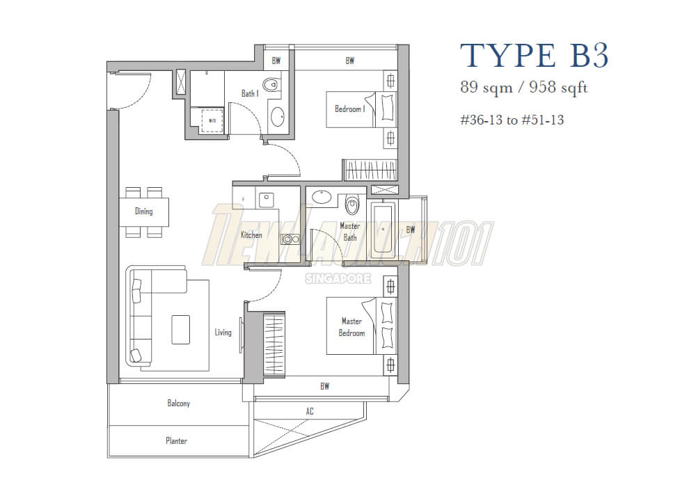 V on Shenton 2-Bedroom Floor Plan Type B3