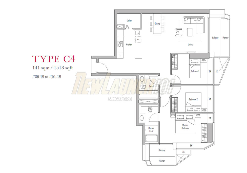 V on Shenton 3-Bedroom Floor Plan Type C4
