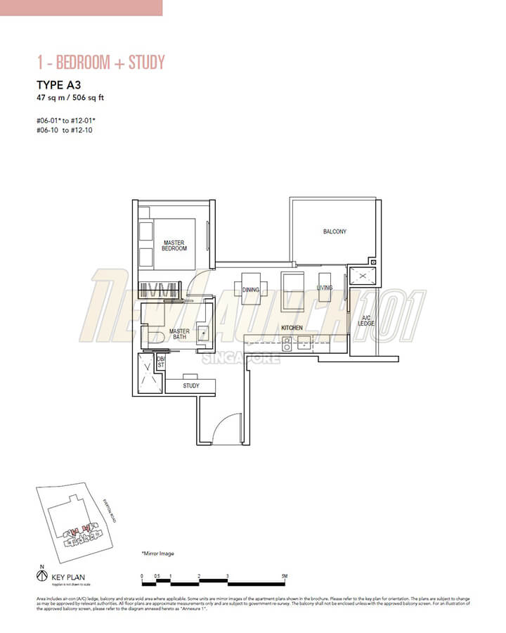 Sky Everton Floor Plan 1-Bedroom Study Type A3