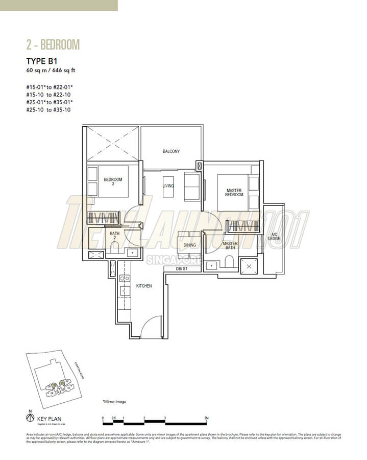 Sky Everton Floor Plan 2-Bedroom Type B1