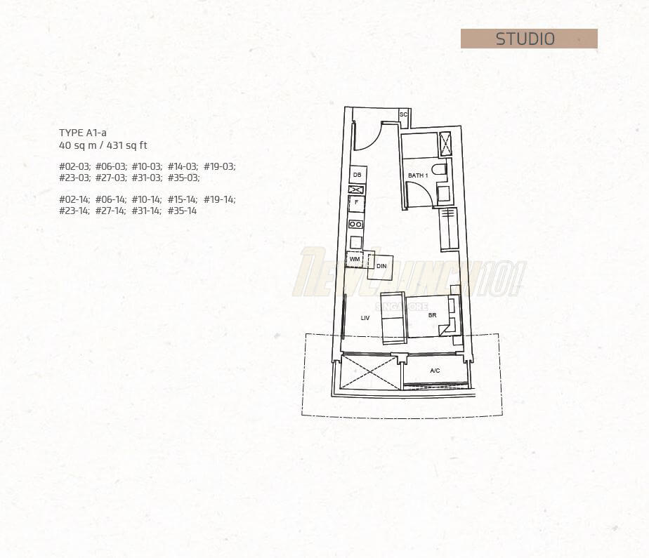 One Pearl Bank Floor Plan Studio Type A1a