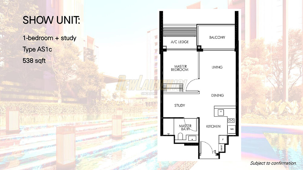 Leedon Green Floor Plan Showflat 1-Bedroom