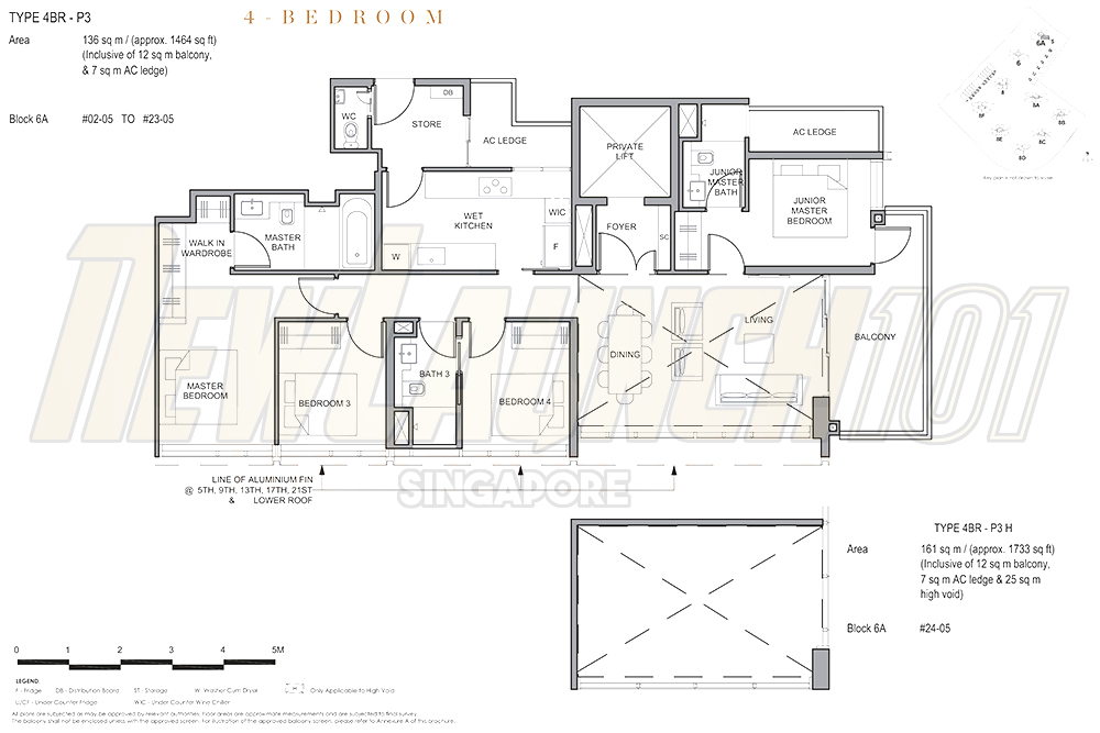 Parc Clematis Floor Plan 4-Bedroom Premium 1464
