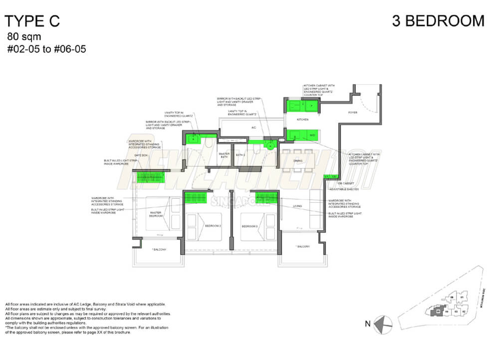 NEU at Novena Floor Plan 3-Bedroom Type C