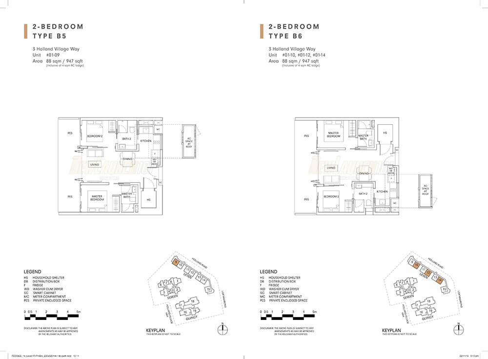 One Holland Village Residences Floor Plan 2-Bedroom Type B5