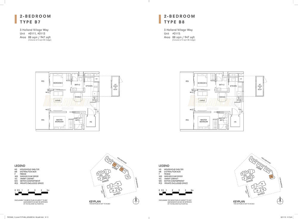 One Holland Village Residences Floor Plan 2-Bedroom Type B7