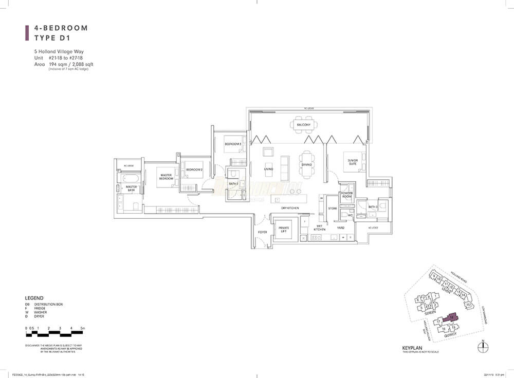 One Holland Village Residences Floor Plan 4-Bedroom Type D1