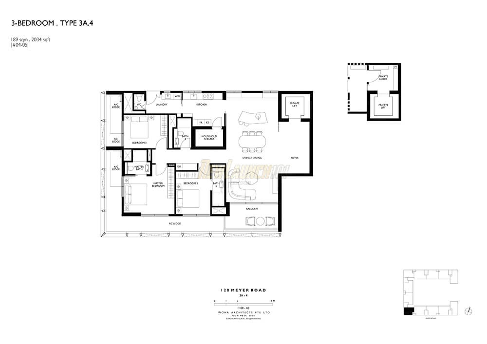 Meyerhouse Floor Plan 3-Bedroom Type 3A4