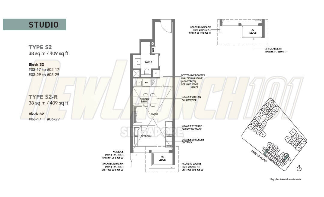 The M Condo Floor Plan Studio Type S2